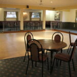 Function room with stage and dance floor